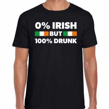 St. patricks day not irish but drunk t shirt zwart heren