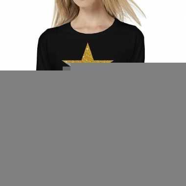 Ster goud glitter t shirt long sleeve zwart dames
