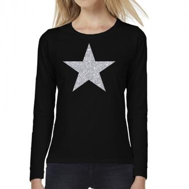 Ster zilver glitter t shirt long sleeve zwart dames