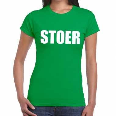 Stoer tekst t shirt groen dames