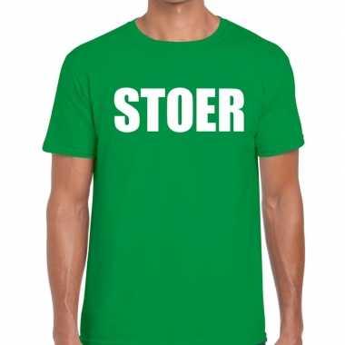 Stoer tekst t shirt groen heren