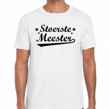 Stoerste meester tekst t shirt wit heren