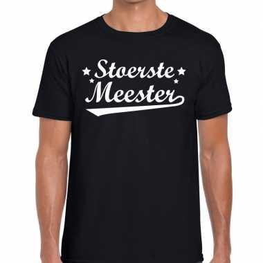 Stoerste meester tekst t shirt zwart heren