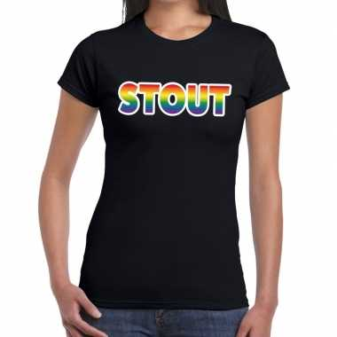 Stout gay pride t shirt zwart dames