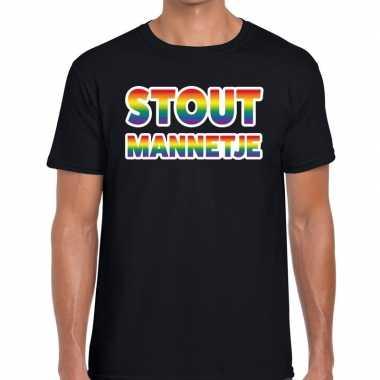 Stout mannetje regenboog gay pride shirt zwart heren