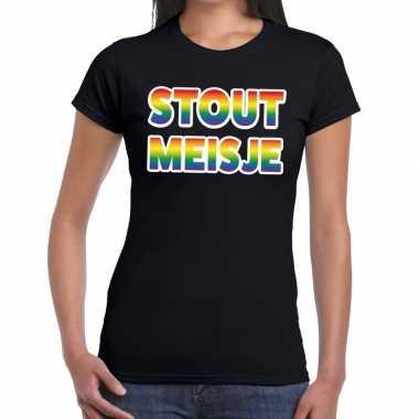 Stout meisje gay pride t shirt zwart dames