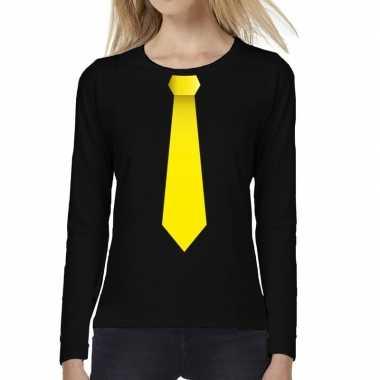 Stropdas geel long sleeve t shirt zwart dames