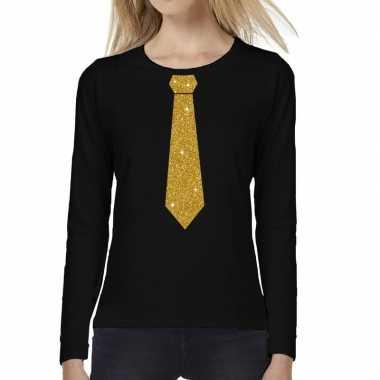 Stropdas goud glitter long sleeve t shirt zwart dames