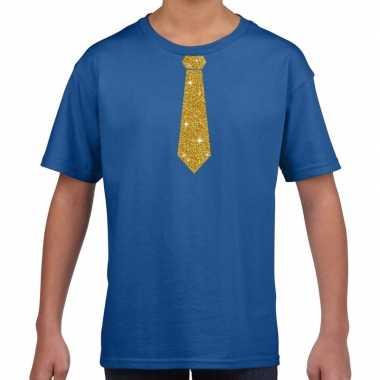 Stropdas goud glitter t shirt blauw kinderen