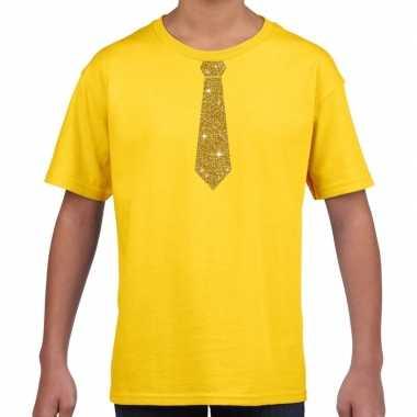 Stropdas goud glitter t shirt geel kinderen