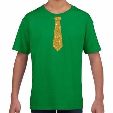 Stropdas goud glitter t shirt groen kinderen