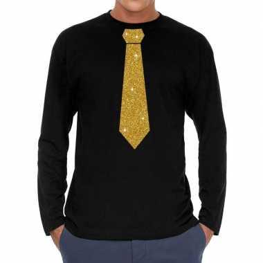 Stropdas goud glitter t shirt long sleeve zwart heren