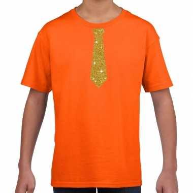 Stropdas goud glitter t shirt oranje kinderen
