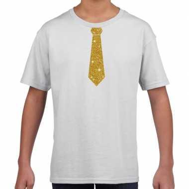 Stropdas goud glitter t shirt wit kinderen