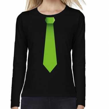 Stropdas groen long sleeve t shirt zwart dames
