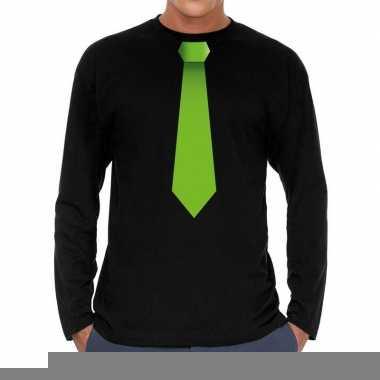 Stropdas groen long sleeve t shirt zwart heren