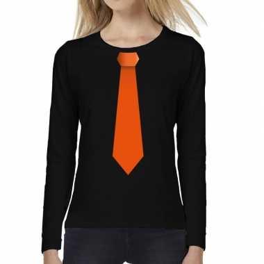Stropdas oranje long sleeve t shirt zwart dames
