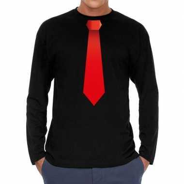 Stropdas rood long sleeve t shirt zwart heren