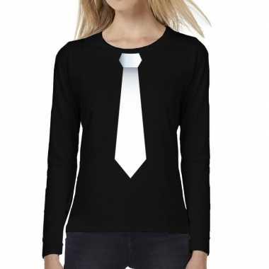 Stropdas wit long sleeve t shirt zwart dames