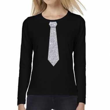 Stropdas zilver glitter long sleeve t shirt zwart dames