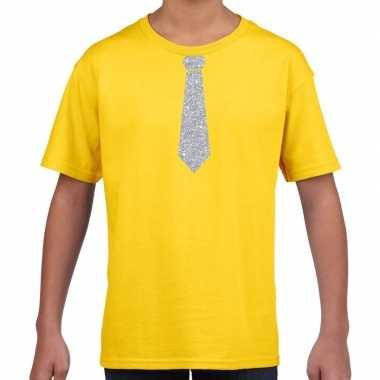 Stropdas zilver glitter t shirt geel kinderen