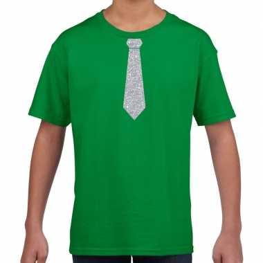 Stropdas zilver glitter t shirt groen kinderen