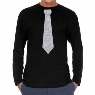 Stropdas zilver glitter t shirt long sleeve zwart heren