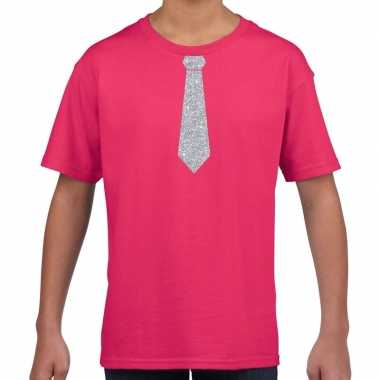 Stropdas zilver glitter t shirt roze kinderen