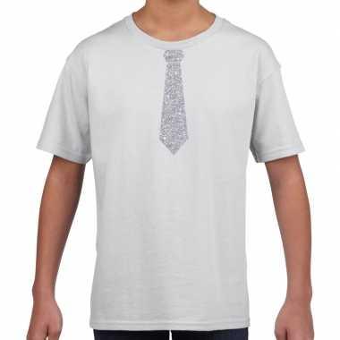 Stropdas zilver glitter t shirt wit kinderen