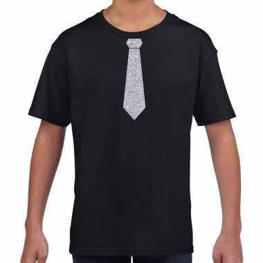 Stropdas zilver glitter t shirt zwart kinderen