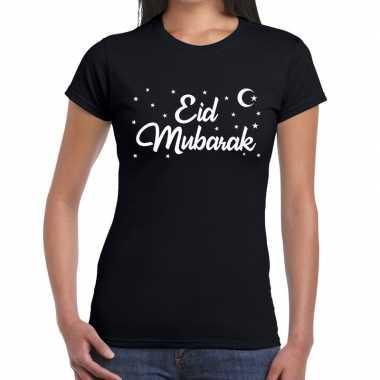 Suikerfeest eid mubarakt-shirt zwart dames