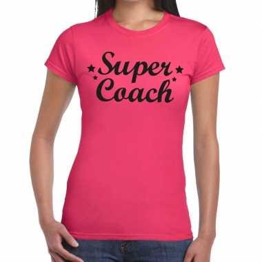 Super coach cadeau t shirt roze dames