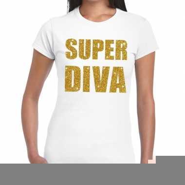 Super diva glitter tekst t shirt wit dames