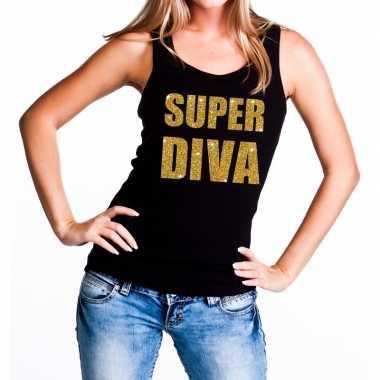 Super diva glitter tekst tanktop / mouwloos shirt zwart dames