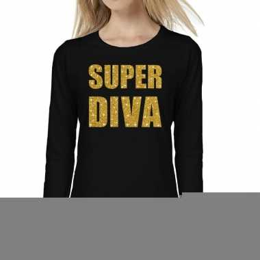 Super diva goud glitter t shirt long sleeve zwart dames