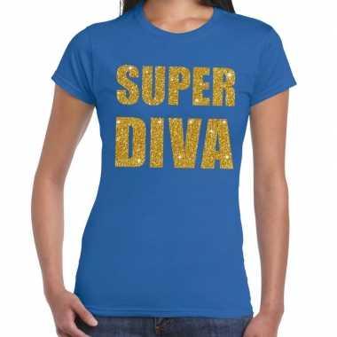 Super diva gouden glitter tekst t shirt blauw dames