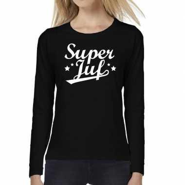 Super juf cadeau t shirt long sleeve zwart dames