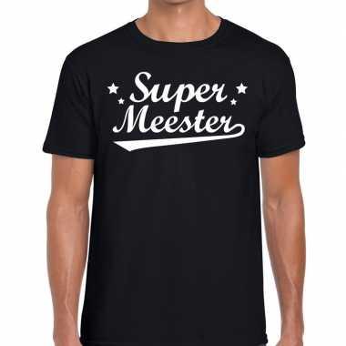 Super meester tekst t shirt zwart heren