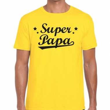 Super papa cadeau t shirt geel heren