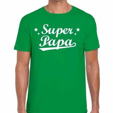 Super papa cadeau t shirt groen heren