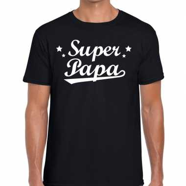Super papa cadeau t shirt zwart heren