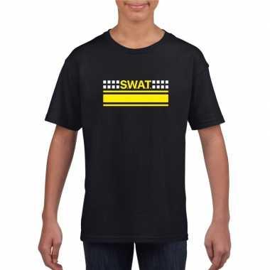 Swat team logo t shirt zwart kinderen