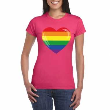 T shirt roze regenboog vlag hart roze dames