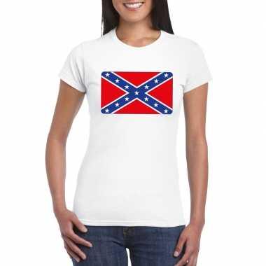 T shirt wit amerikaanse zuidelijke staten vlag wit dames