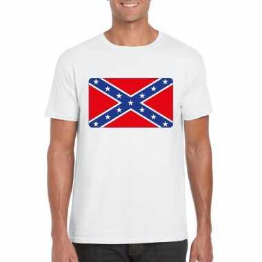 T shirt wit amerikaanse zuidelijke staten vlag wit heren