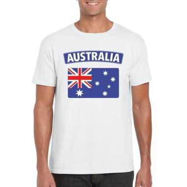 T shirt wit australie vlag wit heren