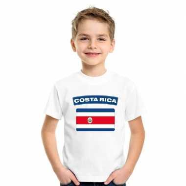 T shirt wit costa rica vlag wit jongens meisjes