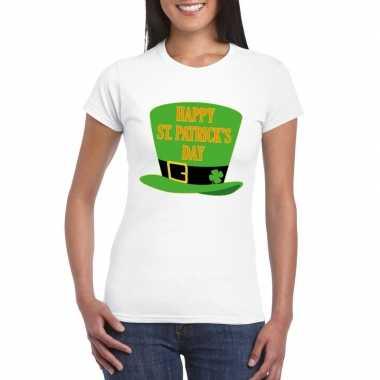 T shirt wit happy st. patricksday wit dames