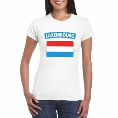T shirt wit luxemburg vlag wit dames