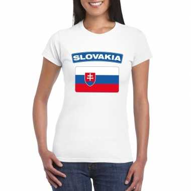 T shirt wit slowakije vlag wit dames